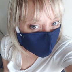 """Tactical Distancing """"American STRONG"""" Filtered Mask Blue, Adjustable, Washable, Full Polypropylene Filter Lining,  Size Small"""