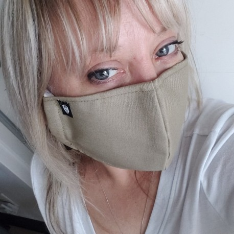 "Tactical Distancing ""American STRONG"" Filtered Mask Khaki, Adjustable, Washable, Full Polypropylene Filter Lining,  Size Small"
